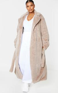 PrettyLittleThing - Plus Taupe Belted Faux Fur Coat, Brown