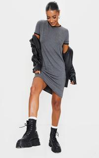 PrettyLittleThing - Charcoal Contrast Trim Jersey T Shirt Dress, Grey