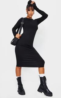 PrettyLittleThing - Black Scoop Neck Jersey Long Sleeve Midi Dress, Black