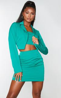 PrettyLittleThing - Emerald Green Woven Cropped Blazer, Emerald Green