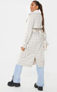 PrettyLittleThing - Stone Contrast Back Midi Belted Trench Coat, White