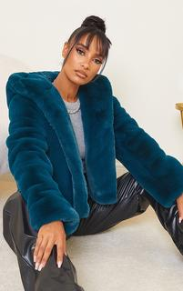 PrettyLittleThing - Teal Premium Cropped Faux Fur Hooded Coat, Blue