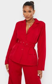 PrettyLittleThing - Red Woven Button Front Belted Waist Suit Blazer, Red