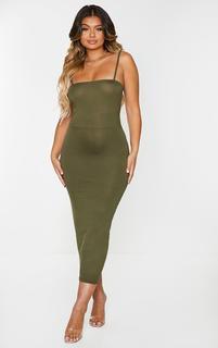 PrettyLittleThing - Khaki Jersey Spaghetti Strap Midaxi Dress, Green