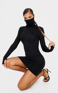 PrettyLittleThing - Black Jersey Long Sleeve Mask Bodycon Dress, Black