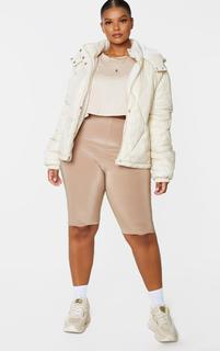 PrettyLittleThing - Plus Stone Nylon Diamond Quilted Hooded Puffer Jacket, White