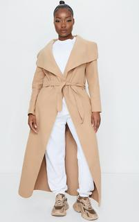 PrettyLittleThing - Petite Camel Maxi Length Oversized Waterfall Belted Coat, Camel