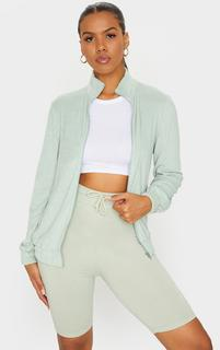 PrettyLittleThing - Forest Green Towelling Zip Up Sweatshirt, Forest Green