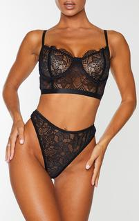 PrettyLittleThing - Black Delicate Lace High Waisted Thong, Black