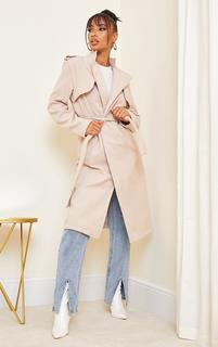 PrettyLittleThing - Sand Wool Military Belted Midi Coat, Sand