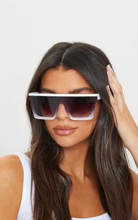 PrettyLittleThing - White Flat Bar Square Frame Sunglasses, White