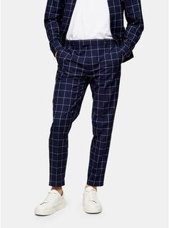 Topman - Mens Navy Windowpane Check Relaxed Trousers, Navy