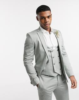 ASOS DESIGN - Wedding – Sehr enge Anzugjacke aus Baumwollstretch, in Dunkelgrün