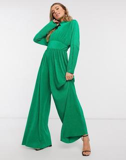 ASOS DESIGN - Hochgeschlossener, plissierter Jersey-Jumpsuitmit weitem Bein in leuchtendem Grün