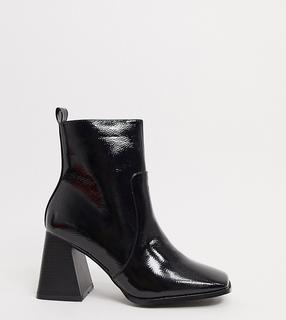 Raid Wide Fit - Antonia – Stiefeletten mit eckiger Zehenpartie in Schwarz lackiert