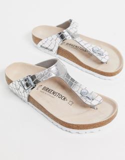 BIRKENSTOCK - Gizeh – Sandalen in Alligator-Silber
