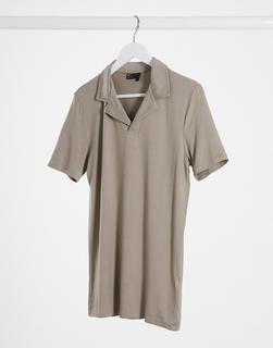 ASOS DESIGN - Muskel-Polohemd aus Jersey und Viskose mit Reverskragen, in Beige