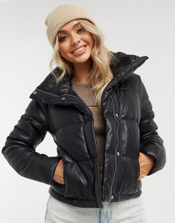 Abercrombie & Fitch - Wattierte Jacke in Schwarz