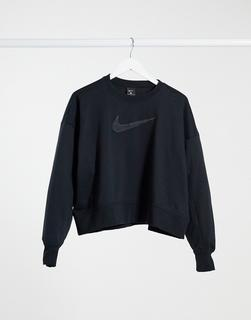 Nike Training - Sweatshirt mit Swoosh-Logo und Rundhalsausschnitt in Schwarz
