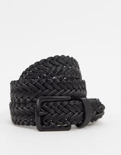 ASOS DESIGN - Schmaler Flechtgürtel aus schwarzem Kunstleder