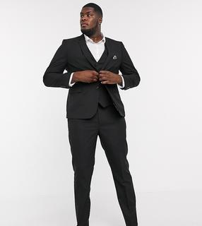 Harry Brown - Plus – Enge, einfarbige Anzughose-Schwarz
