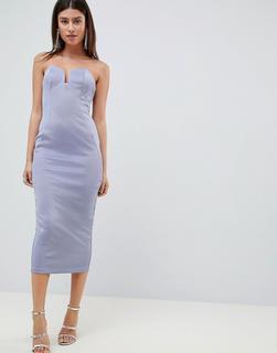 ASOS DESIGN - Figurbetontes, trägerloses Midaxi-Kleid in Bandagenoptik mit U-Design-Blau