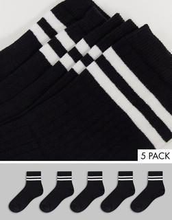 French Connection - Sportsocken mit 2Streifen im 5er-Pack in Schwarz und Weiß