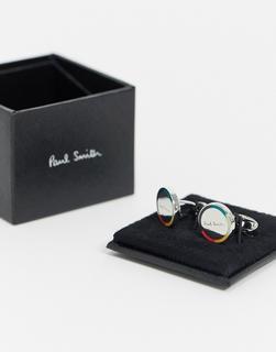 Paul Smith - Artist – Runde Manschettenknöpfe in Silber mit Streifen