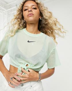 Nike - Kurzes grünes Mesh-T-Shirt mit Bindeband vorn