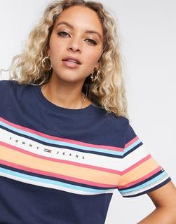 Tommy Jeans - Marineblaues T-Shirt mit Streifen und Logo-Navy