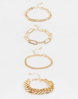 ASOS DESIGN - 4er-Set Armbänder mit verschiedenen Kettendesigns in Gold