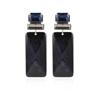 LOTT.gioielli - Ohrringe - CE Resin Rectangle L *000 Dark Blue #BB  Gold - in marine - für Damen
