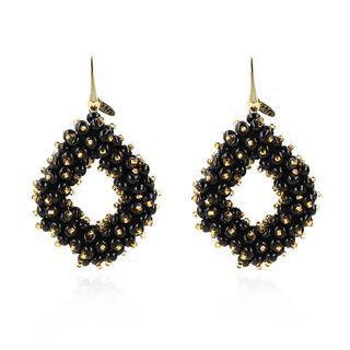 LOTT.gioielli - Ohrringe - CE Glasberry Ace Double Stones L *000 Black Gold # Gold - in schwarz - für Damen