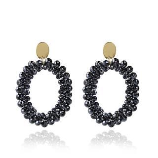 LOTT.gioielli - Ohrringe - CE Glasberry Peyote Oval *000 Metallic Blue #50  Gold - in marine - für Damen