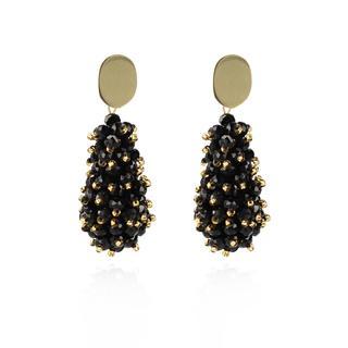 LOTT.gioielli - Ohrringe - CE Glasberry Cone Double Stones *000 Black Gold #2 Gold - in schwarz - für Damen