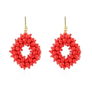 LOTT.gioielli - Ohrringe - CE Glasberry Ace Double Stones M *000 Red #01  Gold - in rot - für Damen