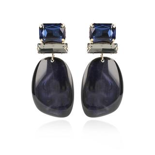 LOTT.gioielli - Ohrringe - CE Resin Asymmetric Oval L *000 Dark Blue #BB  Gold - in marine - für Damen