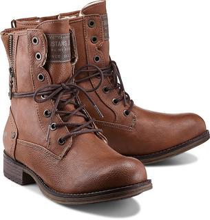 Mustang - Schnür-Boots in mittelbraun, Boots für Damen