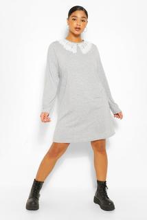 boohoo - Womens Plus Jersey Collar T-Shirt Dress - Grey - 16, Grey
