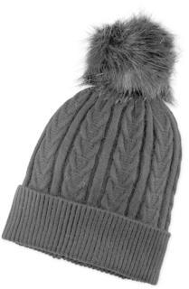 COX - Bommel-Mütze in schwarz, Mützen & Handschuhe für Damen