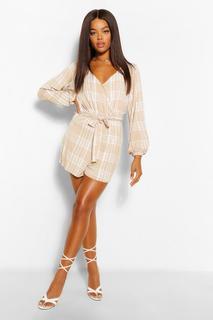 boohoo - Womens Long Sleeve Belted Check Print Jersey Playsuit - Beige - 12, Beige