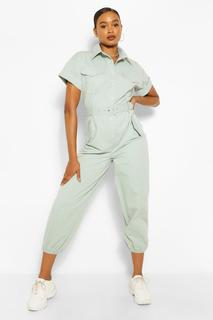 boohoo - Womens Woven Turn Up Cuff Belted Jumpsuit - Green - 16, Green