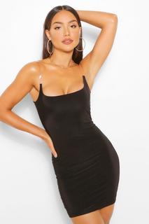boohoo - Womens Bodycon-Kleid Aus Glänzendem Jersey Mit Transparenten Trägern - Schwarz - 36, Schwarz