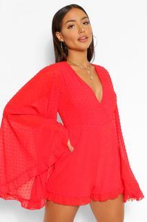 boohoo - Womens Dobby Mesh Flared Sleeve Ruffle Playsuit - 16, Red