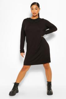 boohoo - Womens Plus Jersey Collar T-Shirt Dress - Black - 26, Black