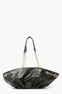 boohoo - Womens Chain Handle Slouchy Day Bag - Black - One Size, Black