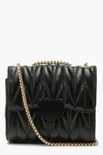boohoo - Womens Pu Chunky Pleated Chain Cross Body Bag - Black - One Size, Black