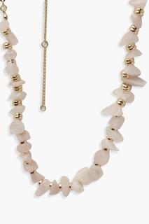 boohoo - Womens Stone And Disk Effect Necklace - Pink - One Size, Pink