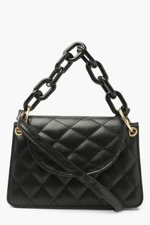 boohoo - Womens Quilted Matte Chain Detail Cross Body Bag - Black - One Size, Black