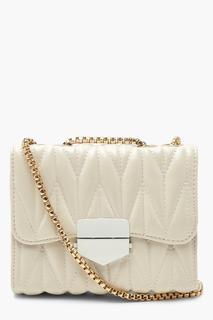 boohoo - Womens Pu Chunky Pleated Chain Cross Body Bag - White - One Size, White